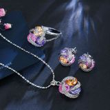 Fashion Cubic Zirconia Knot Earrings Necklace Ring Set for Women Ring Size:8(Multi-color)