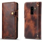 For Galaxy S9 Plus Denior Oil Wax Cowhide Magnetic Button Horizontal Flip Leather Case with Card Slots & Wallet(Brown)