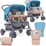 Lorelli Twin Duo buggy - 84 Breed Tweelingbuggy met beenkappen en regenhoes Blue&Beige MOON BEAR