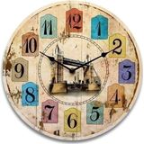 Vintage Round Wood Wall Clock Houten Reminiscence Decor Style