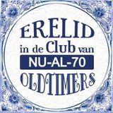 Delfts blauwe spreuken tegel 70 jaar oldtimers - Fopartikelen