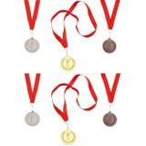 12x stuks medailles goud/zilver/brons aan rood lint - Fopartikelen