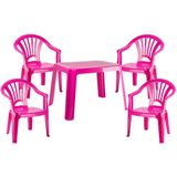 Kunststof kindertuinset tafel met 4 stoelen roze - Kinderstoelen