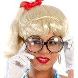 2x stuks carnaval verkleed bril met grote ronde glazen - Verkleedbrillen