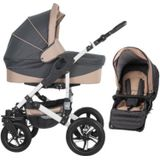 Friedrich Hugo Combi Kinderwagen Hamburg 2 in 1 met luchtbanden Grey and Beige / grijs