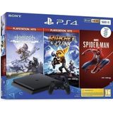 Playstation 4 Slim (Black) 500GB + Horizon Zero Dawn Complete Edition + Rachet & Clank + Spider-Man