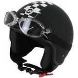 Retro Helm: MT Custom Rider Flag - Zwart/wit