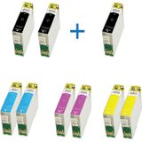 Compatible - Epson T1285 DUO pack 8 inktcartridges + 1 zwart extra