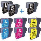 Compatible voor - Brother LC1100-LC980 DUO PACK BKCMY + 1 zwart extra - inktknaller
