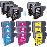 Compatible voor - Brother TRIO PACK LC1100-LC980 BKCMY - inktknaller