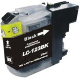 Compatible voor Brother LC123BK inktcartridge 20 ml. zwart met chip - inktknaller