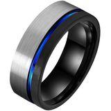 Wolfraam heren ring Groef Zilverkleurig Zwart Blauw-19mm