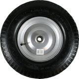 Kruiwagenwiel met luchtband, stalen zilveren velg, 4.80/4.00-8 Asgatdiameter 20mm rollager Stalen velg Hoogte wiel 39cm
