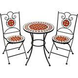Tectake Bistro set mozaïek tuinmeubel set 2 stoelen + tafel Ø 60 cm