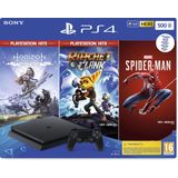 Sony PlayStation 4 Slim console 500GB + Spiderman + Horizon: Zero Dawn + Ratchet & Clank