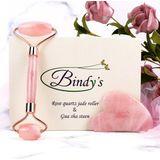Bindy's Rose Quartz Jade Roller Gezichtsmassage Roller - Met Gua Sha Steen