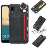 For Huawei P20 Lite Cloth Texture + TPU Shockproof Protective Case with Metal Ring & Holder & Card Slots & Hanging Strap(Black)