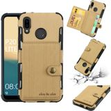 For Huawei P20 Lite Brushed Texture Shockproof PU + TPU Case with Card Slots & Wallet & Photo Frame(Gold)