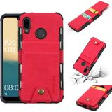 For Huawei P20 Lite Cloth Texture + TPU Shockproof Protective Case with Vertical Flip Card Slots(Rose Red)