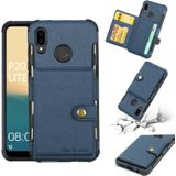 For Huawei P20 Lite Brushed Texture Shockproof PU + TPU Case with Card Slots & Wallet & Photo Frame(Blue)
