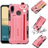 For Huawei P20 Lite Cloth Texture + TPU Shockproof Protective Case with Metal Ring & Holder & Card Slots & Hanging Strap(Pink)