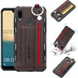 For Huawei P20 Lite Cloth Texture + TPU Shockproof Protective Case with Metal Ring & Holder & Card Slots & Hanging Strap(Coffee)