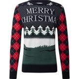 Kronstadt Trui 'Ugly X-mas Merry Christmas' wit / navy / rood / groen