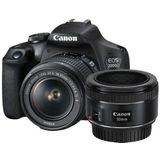Canon EOS 2000D DSLR + 18-55mm IS II + 50mm f/1.8 STM